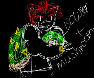 Bowser hugging a mushroom