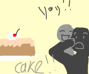 people excited to eat cake