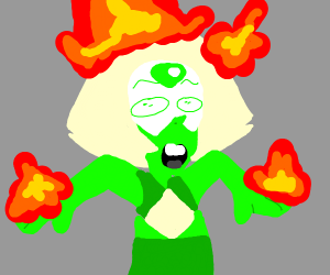 Green shirt man's hands and hair are on fire