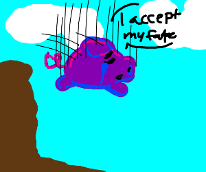 purple pig accepts his fate