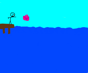 Angry stickman throws a purse off of a pier
