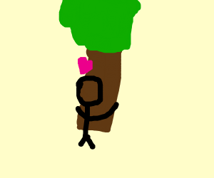 Guy hugs tree with the upmost passion