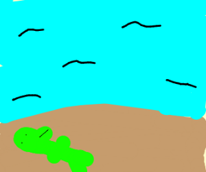 dino lying on the beach