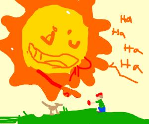 Sun laughs at a boy