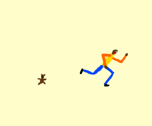 Black guy with running from teddy bear