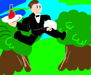 Waiter jumping from tree to tree