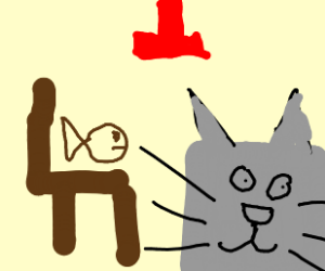 fish on chair, grey cube cat, red lightning