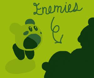 green kirby inhales his enemies to make it la