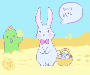 easter bunny stuck in the desert