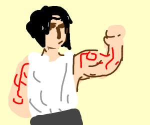 a buff BOI with red tatoos