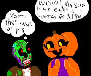 Pumpkin mom is proud of zombie son