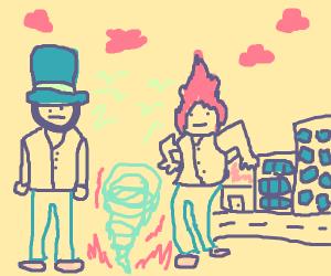 hatless and tophat-guy creating tornado