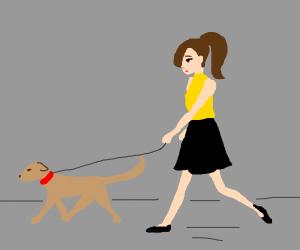 person walking dog-like animal