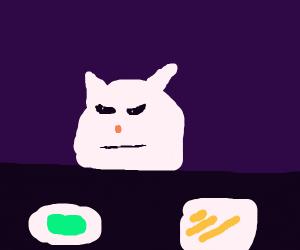 Cat at dinner table meme.