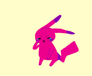 Pink crying pikachu