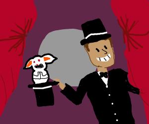 suspicious rabbit in magician's hat