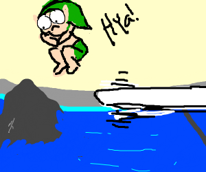 link jumps into a pool