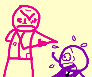 pink man bout to beat up purple suit guy
