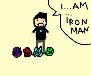 Derpy Tony stark has all 4 infinity lettuces