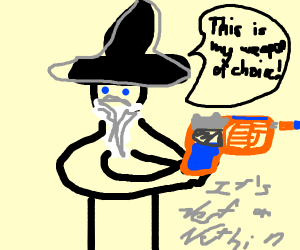 Wizard's weapon of choice is Nerf gun