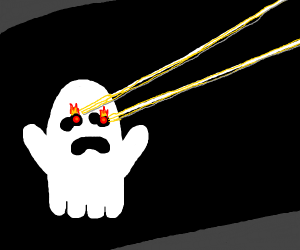 ghost shooting lazers from it's eyes