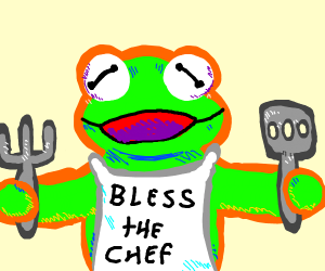 Kermit the chef in a cooking apron