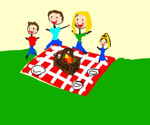 Happy family has picnic.