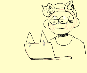 You're wearing cat ears and so is your laptop