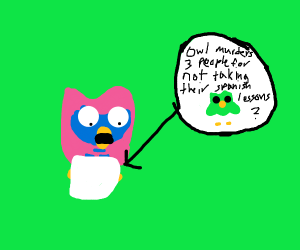 Pink owl reading a book about murder.