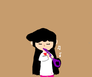 A girl playing the clarinet