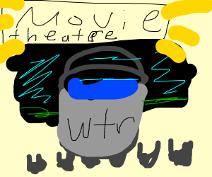 Water bucket in movie theatre