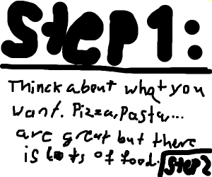 step 1 think of what to eat