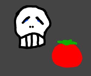 skull is sad at tomato