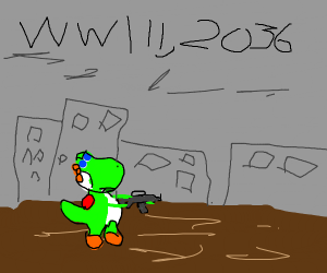 Yoshi discovers the horrors of war,2036.