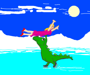 Dinosaur does the dirty dancing lift on ice
