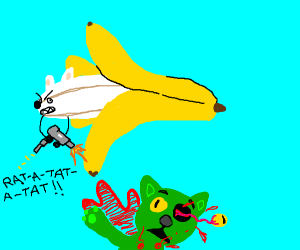 Banana dog shooting a green cat