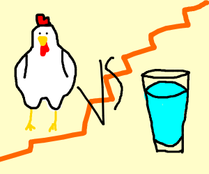Chicken vs a glass of water
