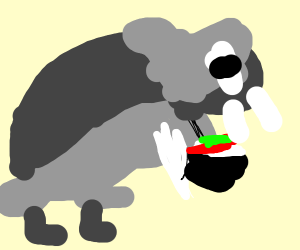 a saber-toothed seal and elephant wh <3 sushi