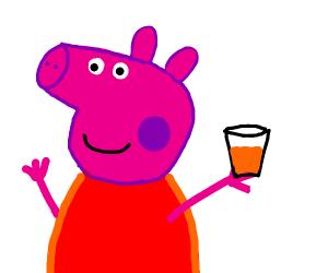 Peppa pig making OJ