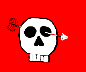Skull with arrow show through eye from behind
