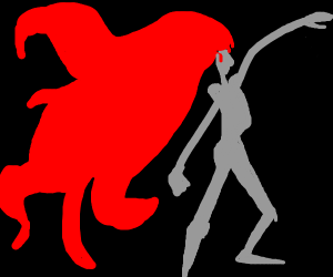 Grey silhouette of a man w+ flowing red hair