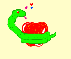 Snake is friendly with apple