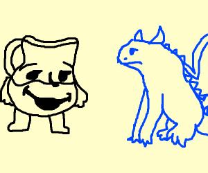 Kool aid man finds a blue dragon