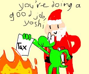 Santa helps yoshi evading taxes