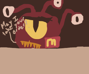 Beholder from D&D working at McDonalds