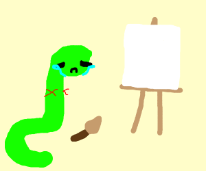 Snakes can't paint. They can't hold the brush