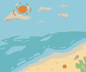 sun over a beach