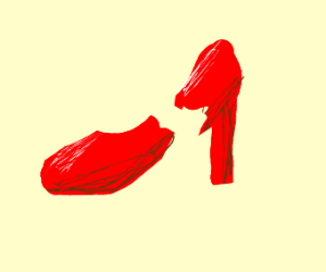 Breaking woman red shoe