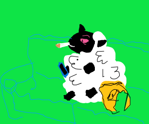 A sheep is super stoned