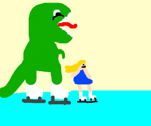 Going ice skating with a dinosaur
